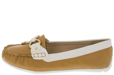 YACHT01 BEIGE WHITE BOAT MOCCASIN FLAT