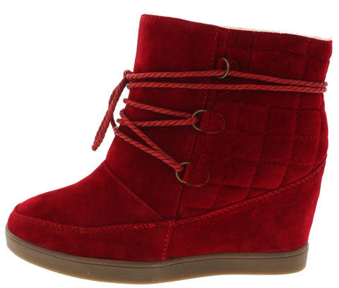 YOGA2 RED LACE UP QUILTED WEDGE SNOW BOOT