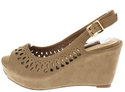 YUKI1 TAUPE PERFORATED SLINGBACK PEEP TOE WEDGE