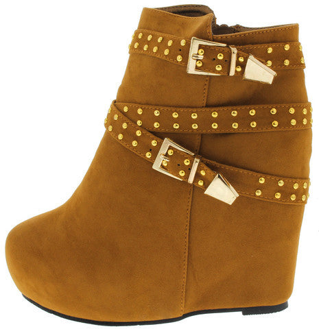 YUKI2 TAN STUDDED WEDGE BOOT