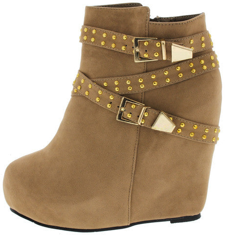 YUKI2 TAUPE STUDDED WEDGE BOOT