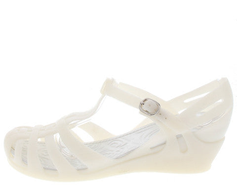 ZX1 WHITE JELLY T-STRAP WEDGE