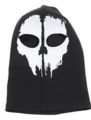 #9 Outdoor Halloween Cosplay Skull Skeleton Ghost Head Mask - Black + White