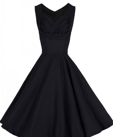 DROPKICKS STOCK ITEM: BEST SELLER Black Sleeveless Made-to-Order Retro 50s Pinup Girl Rockabilly Style Dress by After The Rain - Brides & Bridesmaids - Wedding, Bridal, Prom, Formal Gown