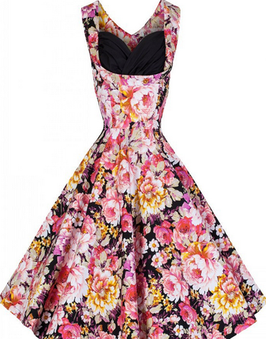 DROPKICKS STOCK ITEM: BEST SELLER Floral Print Sleeveless Made-to-Order Retro 50s Pinup Girl Rockabilly Style Dress by After The Rain - Brides & Bridesmaids - Wedding, Bridal, Prom, Formal Gown