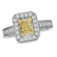 1 CT. T.W. Radiant-Cut Fancy Yellow and White Diamond Frame Engagement Ring in 18K White Gold