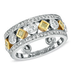 1-1/10 CT. T.W. Fancy Yellow and White Diamond Band in 18K Two-Tone Gold (G-H/VS2-SI1)