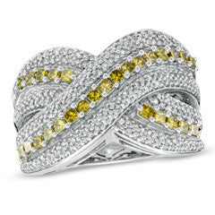 1 CT. T.W. Princess-Cut Enhanced Yellow and White Diamond Criss-Cross Band in Sterling Silver - Size 7
