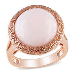 14.0mm Pink Opal Textured Frame Ring in Rose Rhodium Plated Sterling Silver