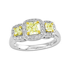 1 CT. T.W. Radiant-Cut Yellow and White Diamond Three Stone Ring in 18K White Gold