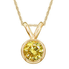 1 CT. Enhanced Yellow Diamond Bezel Set Solitaire Pendant in 14K Gold