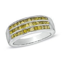 1 CT. T.W. Enhanced Yellow Princess-Cut Diamond Triple Row Band in Sterling Silver - Size 7