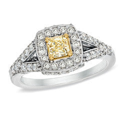 1 CT. T.W. Enhanced Yellow and White Diamond Frame Engagement Ring in 14K White Gold