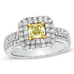1 CT. T.W. Enhanced Yellow and White Diamond Double Frame Engagement Ring in 14K White Gold