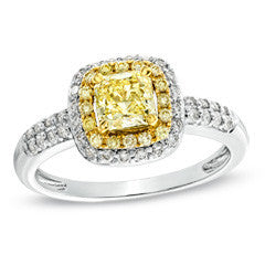 1 CT. T.W. Enhanced Yellow and White Diamond Double Row Engagement Ring in 14K White Gold