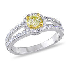 1 CT. T.W. Enhanced Yellow and White Diamond Split Shank Engagement Ring in 14K White Gold