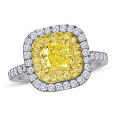 1 CT. T.W. Certified Yellow Cushion-Cut Diamond Frame Engagement Ring in Platinum and 18K Gold (SI1-SI2)