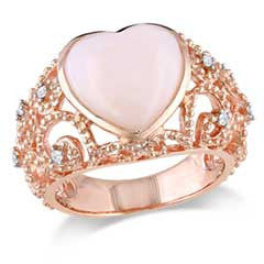 12.0mm Heart-Shaped Pink Opal and Diamond Accent Scroll Ring in Rose Rhodium Plated Sterling Silver