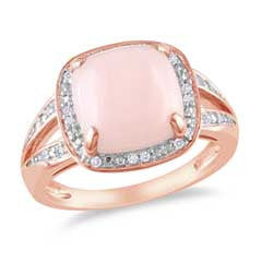 10.0mm Cushion-Cut Pink Opal and 1/10 CT. T.W. Diamond Frame Ring in Rose Rhodium Plated Sterling Silver