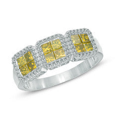 1 CT. T.W. Enhanced Yellow Princess-Cut Quad Diamond Three Stone Ring in 10K White Gold