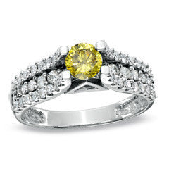 1 CT. T.W. Enhanced Fancy Yellow and White Diamond with Pavé Shank Ring in 14K White Gold