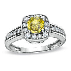 1 CT. T.W. Enhanced Fancy Yellow and White Squared Frame Diamond Ring in 14K White Gold