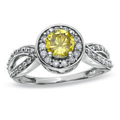 1 CT. T.W. Enhanced Fancy Yellow and White Diamond Framed Twisted Shank Ring in 14K White Gold