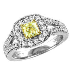 1 CT. T.W. Radiant-Cut Natural Fancy Yellow and White Diamond Split Shank Framed Ring in 18K White Gold