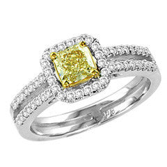 1 CT. T.W. Radiant-Cut Natural Fancy Yellow and White Diamond Split Shank Ring in 18K White Gold
