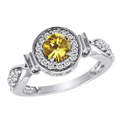 1 CT. T.W. Enhanced Fancy Yellow Diamond Frame Engagement Ring in 14K White Gold