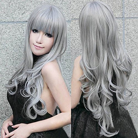 "32"" 80cm Long Grey Wavy Wigs Gray Woemn Sexy Lolita Cosplay Wig Costume Party Wig For Halloween Christmas Party Peruca Pelucas"