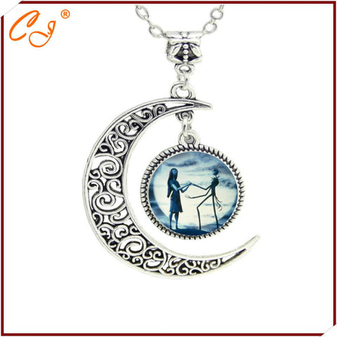 The latest fashion of yellow and blue moon Halloween Town Necklace high quality Jack Skellington pendant Wholesale Freeshipping