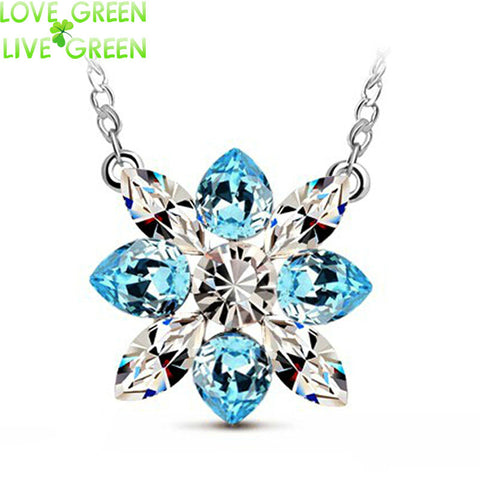 christmas party birthday gifts queen bridal wedding Austrian Crystal snowflake flower water drop Pendant Necklace Jewelry 80154