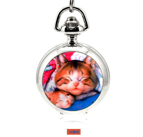 DROPKICKS STOCK ITEM: Fashion Design Quartz 3.5cm Mini Cat Pendant Enamel White Steel Mirrored Pendant Necklace Pocket Watch