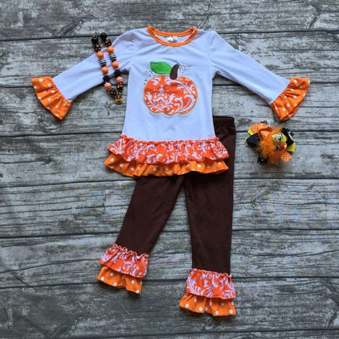 DROPKICKS STOCK ITEM: Fall/Winter girls pumpkin outfits kids Halloween pant sets  damask clothes kids ruffle pant sets with necklace and hairhows