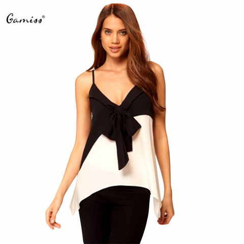2016 Hot Sale Sexy Women Tank Top Chiffon Camis Gamiss Graceful Bowknot Color Block Asymmetrical Women Chiffon Tank Top