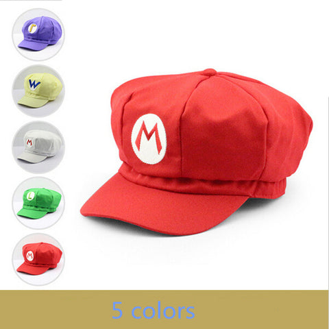 2016 New Super Mario Cotton Baseball Cap Men 5 Colors Anime Cosplay Halloween Women Baseball Cap Red Mario Brand Adult Hat Cap