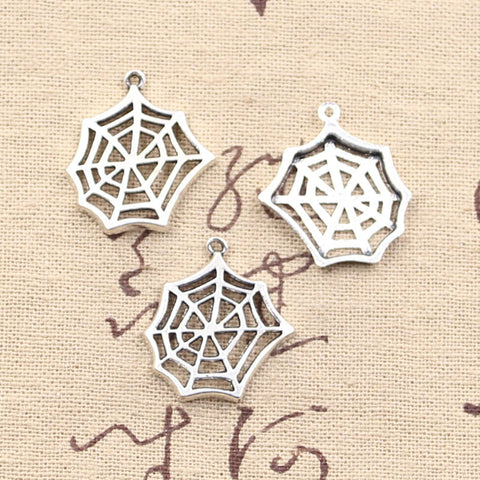 15pcs Charms cobweb spider halloween 25*23mm Antique pendant fit,Vintage Tibetan Silver,DIY for bracelet necklace
