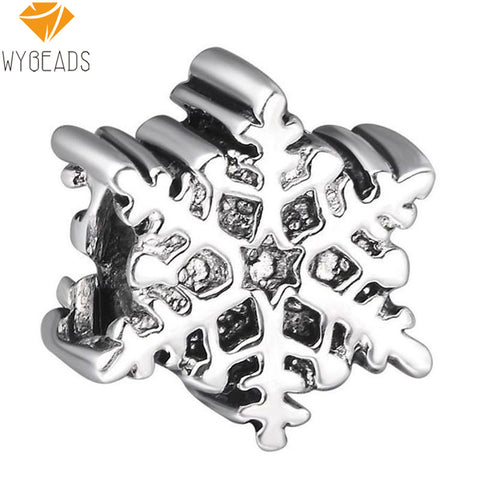 925 Sterling Silver Christmas Snowflakes European Charm Beads Fit Pandora Style Bracelet Necklace Pendant DIY Original Jewelry