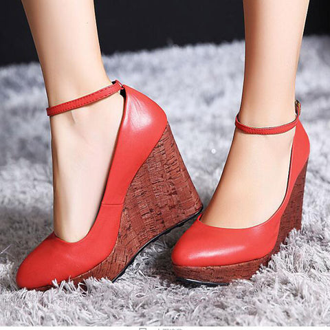 Breathable For Women Low Cut Uppers Round Toe Cowhide Sexy Pumps Extreme High Heels Best Seller Platform Wedge Single Shoes