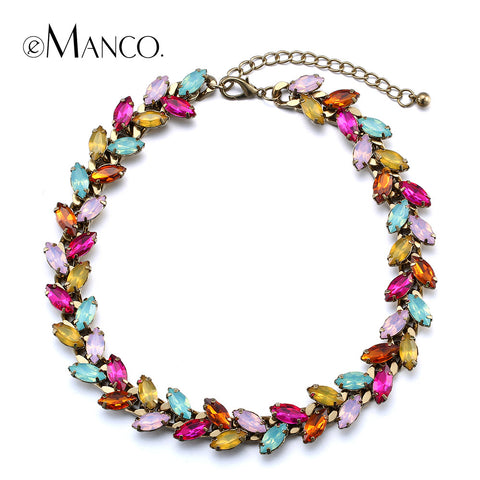 //Horse eye crystal colorful necklace// charming crystal chokers copper titanium necklace collier 2015 femme eManco NL13334