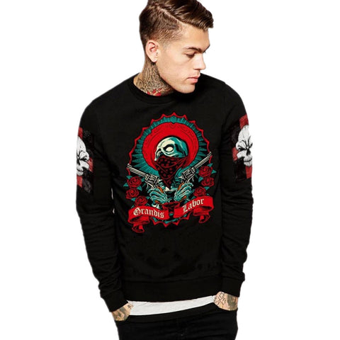 DROPKICKS STOCK ITEM: plus size New winter autumn skull sweatshirt men hip hop casual hoodies Gothic printed sportswear #P1012 Alternative Measures