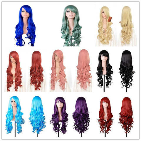 "32"" 80 Cm Long Curlly Wavy Anime Wigs Cosplay Women Costume Party Heat Resistant Synthetic Hair Wig Lolita Full Pelucas 12 Color Alternative Measures"