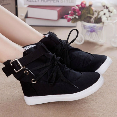 2015 summer autumn lacing high canvas shoes female elevator platform women's casual flat heels shoes