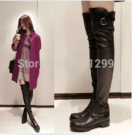 Big size 35-41autumn&winter Brand Genuine Leather thigh high Boots women's Fashion Long Boots Sexy black Knee-High Boots shoes