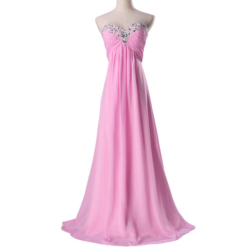 2014 New Arrival! Fast Delivery Grace Karin Women Bridesmaid Dress, Pink Long Wedding party Gown CL3518-2#