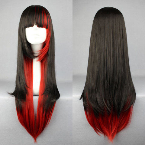 68Cm Harajuku Anime Cosplay Black&Red Ombre Wigs Heat Resistant Cosplay Lolita Wig For Black Women Drag Queen Wig Costume Alternative Measures