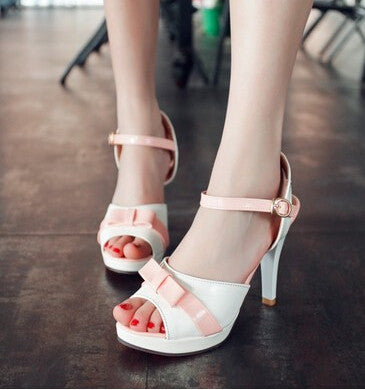 2015 women new fashion 9.5cm high-heeled thin heels open toe bow sweet candy color sandals buckle shoes plus size 40-43