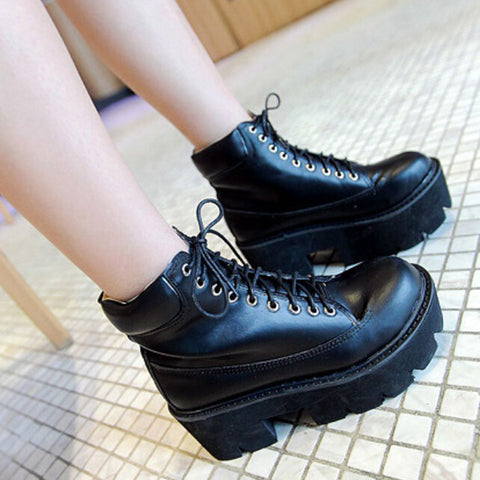 2014 Stylenanda Fashion Yellow Black White Autumn Boots Creepers Lace Up Combat Ankle Boots Heels Flat Platform High Top Shoes