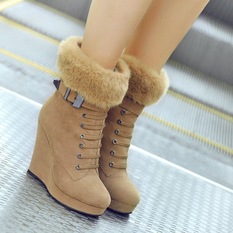2015 Autumn and winter ankle boots with high heels boots shoes wedge heel women ankle boots with fur